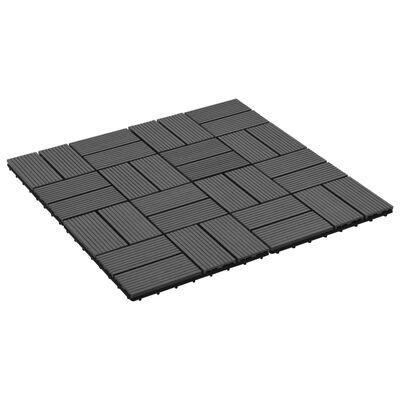 vidaXL Terrassenfliesen 11 Stück WPC 30 x 30 cm 1 qm Schwarz