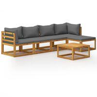 vidaXL 5-tlg. Garten-Lounge-Set mit Auflagen Massivholz Akazie