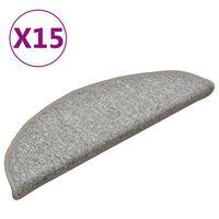 vidaXL Treppenmatten 15 Stk. Hellgrau 56x17x3 cm