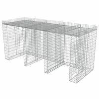 vidaXL Gabionenwand für Mülltonne 270x100x130 cm Verzinkter Stahl