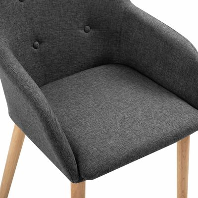 vidaXL Esszimmerstühle 4 Stk. Dunkelgrau Stoff und Massivholz Eiche