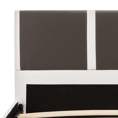 vidaXL Bett mit Matratze Grau und Weiß Kunstleder 140 x 200 cm