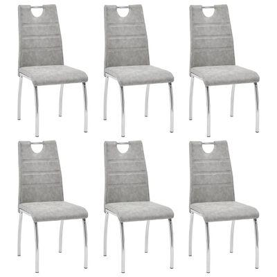 vidaXL Esszimmerstühle 6 Stk. Hellgrau Kunstleder