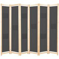 vidaXL 6-teiliger Raumteiler Grau 240 x 170 x 4 cm Stoff