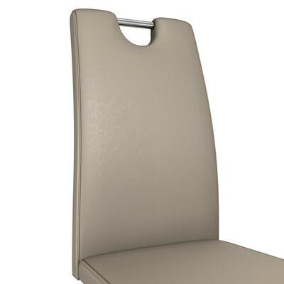 vidaXL Esszimmerstühle in Zick-Zack-Form 4 Stk. Cappuccino Kunstleder