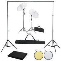 vidaXL Fotostudio-Set mit Hintergründen, Leuchten und Schirmen