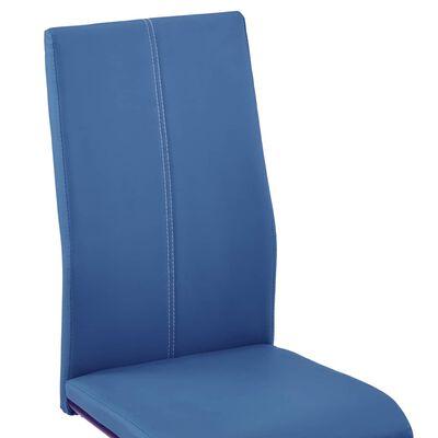 vidaXL Freischwinger 6 Stk. Blau Kunstleder