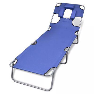 vidaXL Klappliege mit Kopfkissen Pulverbeschichteter Stahl Blau
