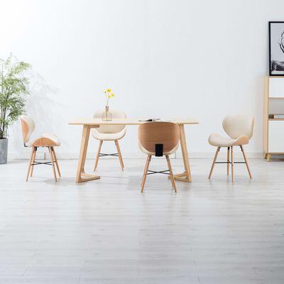 vidaXL Esszimmerstühle 4 Stk. Cremeweiß Kunstleder und Bugholz