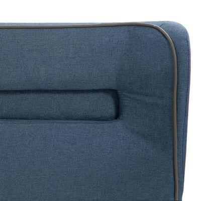 vidaXL Bett mit LED und Memory-Schaum-Matratze Blau Stoff 140×200 cm