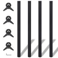 4x höhenverstellbares Tischbein Tischbeine Schwarz 1100 mm