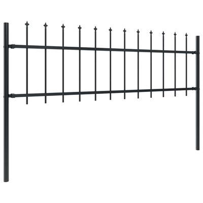 vidaXL Gartenzaun mit Speerspitzen Stahl 6,8 x 1,5 m Schwarz