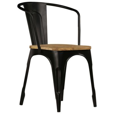 vidaXL Esszimmerstühle 4 Stk. Schwarz Massives Mangoholz