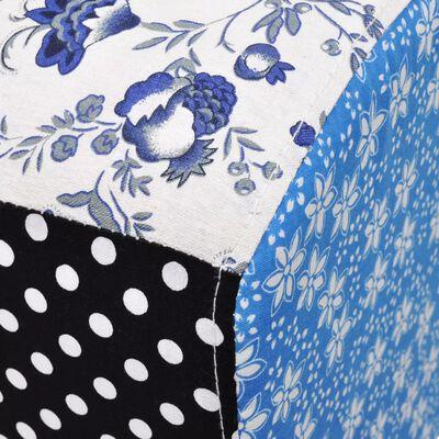 Patchwork Fußhocker Country Living Stil Blumen Punkte Blau & Weiß
