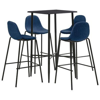 vidaXL 5-tlg. Bar-Set Stoff Blau