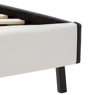 vidaXL Bett mit Matratze Weiß und Schwarz Kunstleder 90 x 200 cm