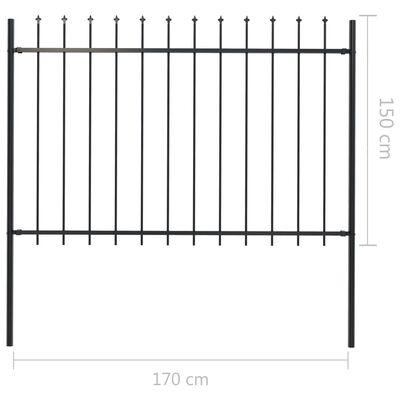 vidaXL Gartenzaun mit Speerspitzen Stahl 10,2 x 1,5 m Schwarz