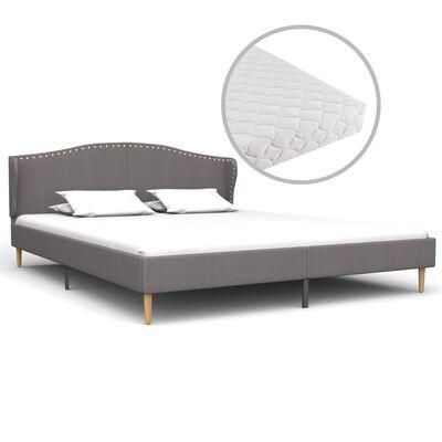 vidaXL Bett mit Matratze Hellgrau Stoff 180 x 200 cm
