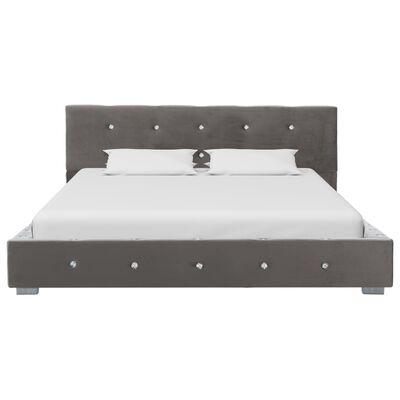 vidaXL Bett mit Matratze Grau Samt 120 x 200 cm