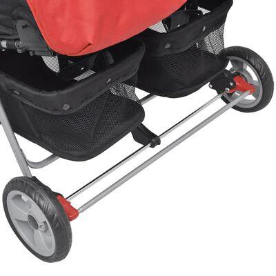 vidaXL Baby Zwillingswagen Stahl Rot und Schwarz