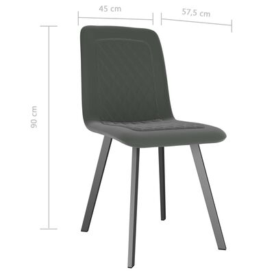 vidaXL Esszimmerstühle 4 Stk. Grau Samt