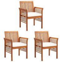 vidaXL Garten-Essstühle mit Sitzpolster 3 Stk. Akazie Massivholz