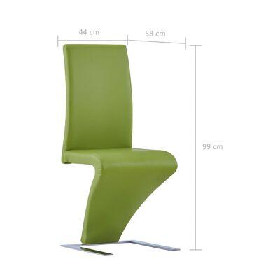 vidaXL Esszimmerstühle in Zick-Zack-Form 4 Stk. Grün Kunstleder