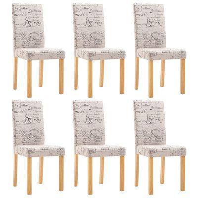 vidaXL Esszimmerstühle 6 Stk. Stoff Creme