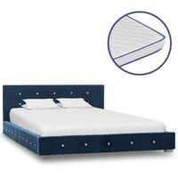 vidaXL Bett mit Memory-Schaum-Matratze Blau Samt 120×200cm