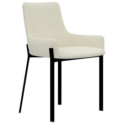 vidaXL Esszimmerstühle 4 Stk. Creme Stoff