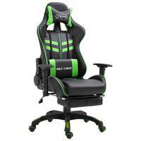 vidaXL Gaming-Stuhl mit Fußstütze Grün Kunstleder