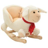 vidaXL Schaukeltier Schaf mit Rückenlehne Plüsch 60x32x50 cm Weiß