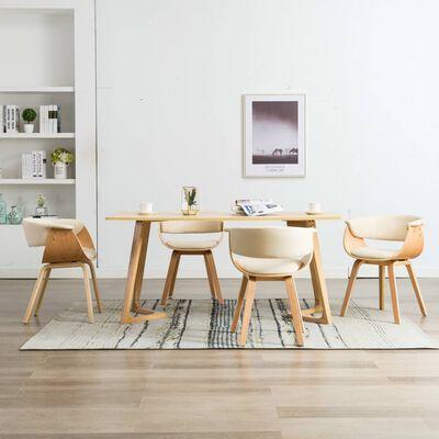 vidaXL Esszimmerstühle 4 Stk. Creme Bugholz und Kunstleder