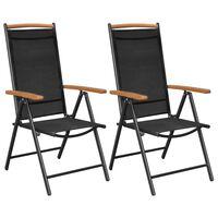 vidaXL Gartenstühle Klappbar 2 Stk. Aluminium und Textilene Schwarz