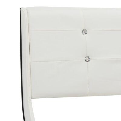 vidaXL Bett mit Matratze Weiß Kunstleder 160 x 200 cm