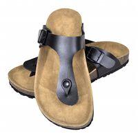 vidaXL Damen Biokork-Sandale im Flip Flop-Design Schwarz Größe 37