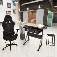 vidaXL Neigbare Tischplatte-Zeichentisch mit Bürostuhl