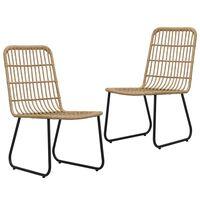 vidaXL Gartenstühle 2 Stk. Poly Rattan Eiche