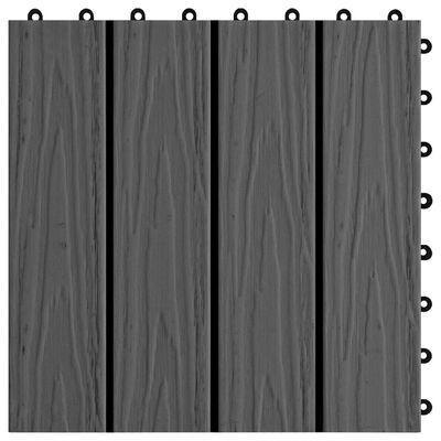 vidaXL 11 Stk. Terrassenfliesen geprägtes WPC 30x30cm 1qm Schwarz