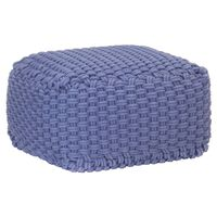 vidaXL Handgestrickter Pouf Blau 50 x 50 x 30 cm Baumwolle