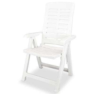 vidaXL Verstellbare Gartenstühle 2 Stk. Kunststoff Weiß