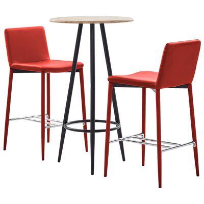 vidaXL 3-tlg. Bar-Set Kunstleder Rot