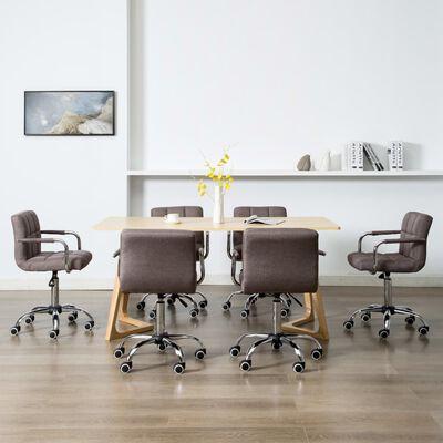 vidaXL Esszimmerstühle Drehbar 6 Stk. Taupe Stoff