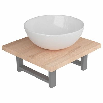 vidaXL 2-tlg. Badmöbel-Set Keramik Eichenbraun