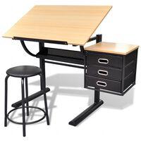 vidaXL Zeichentisch mit neigbarer Tischplatte 3 Schubladen und Hocker