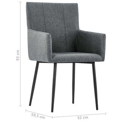 vidaXL Esszimmerstühle mit Armlehnen 6 Stk. Dunkelgrau Stoff