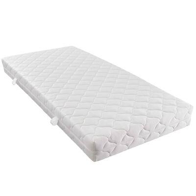 vidaXL Bett mit LED und Matratze Dunkelgrau Sackleinen 180 x 200 cm