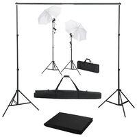 vidaXL Fotostudio-Set mit Hintergrund, Leuchten und Schirmen