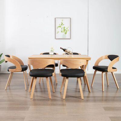 vidaXL Esszimmerstühle 6 Stk. Schwarz Bugholz und Kunstleder