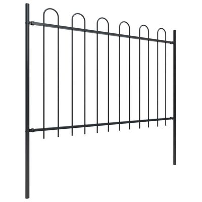 vidaXL Gartenzaun mit Bügel-Design Stahl 3,4 x 1,2 m Schwarz